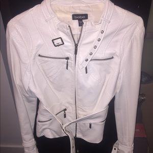 Gorgeous Bebe Ivory lambskin leather jacket